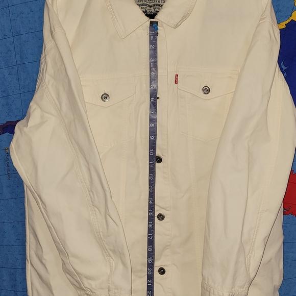 LEVI'S Men's White/Ivory Denim Trucker Button/Zip Jacket NWT